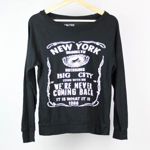 On Fire Womens Sweatshirt Graphic New York Medium